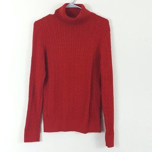 Talbots Red Turtleneck Cable Knit Sweater M Petite